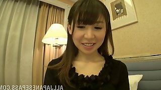 Flirtatious Japanese bimbo drills her hairy pussy with a vibrator close up