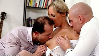 Delicious blonde Jenny Simons is fucked by two hot blooded fellows