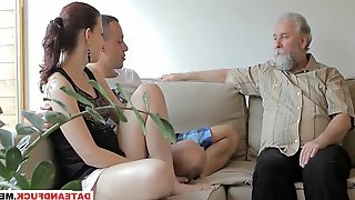 Oldyoung beautiful girl gets fucked by a horny old man, her boyfriend comes and watches