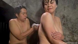 Chubby Japanese woman gets licked by a stranger in the pool