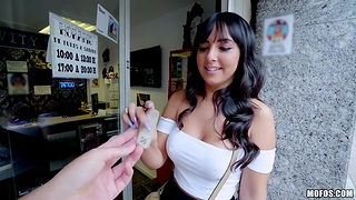 Lovely Spanish babewith yummy boobies Alba De Silva is fucked for cash