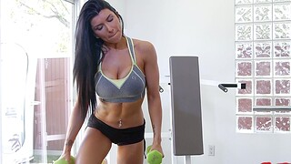 Order about hottie Romi Rain works out and rides a large white unearth