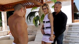 MMF threesome with horny MILF and the brush neighbors - Cherry Caress